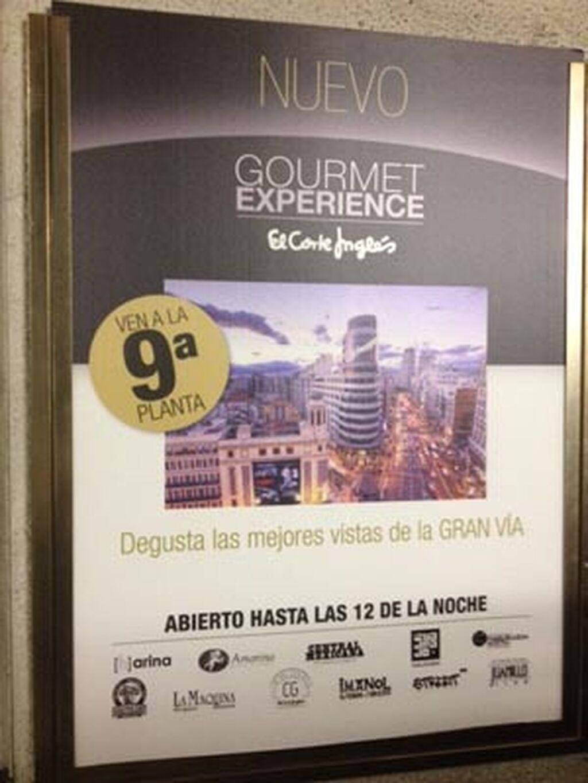 Cartel informativo de Gourmet Experience en una de las plantas de El Corte Inglés