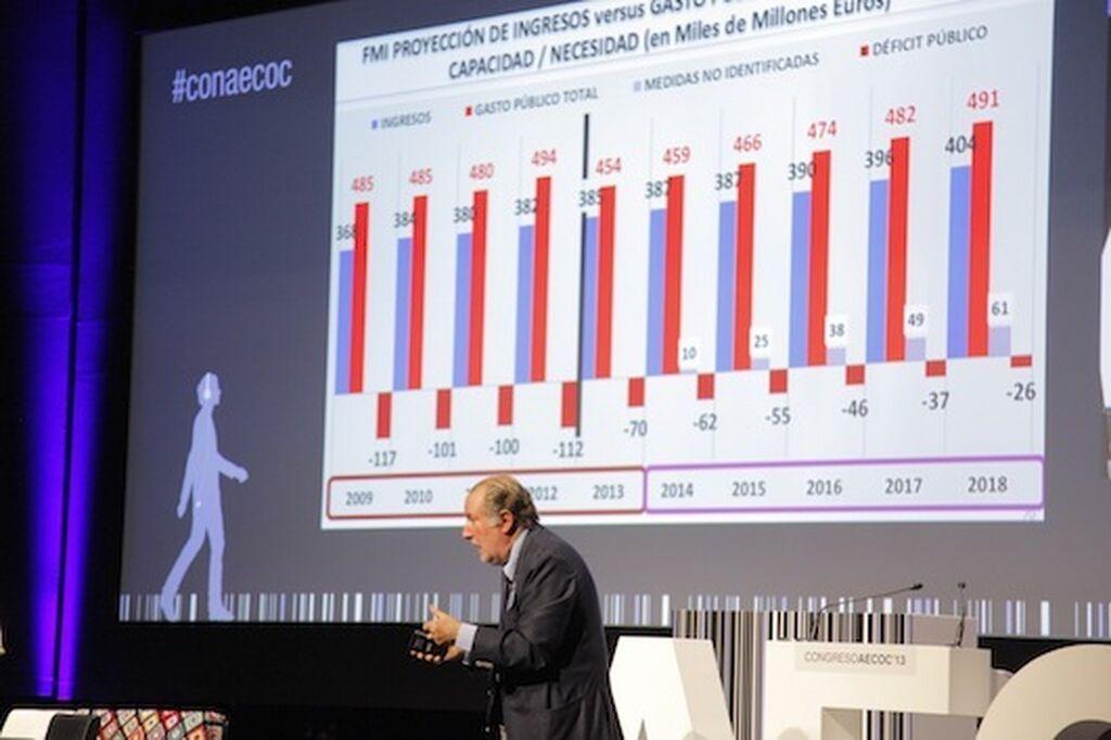 José María Gay de Liébana interpretando con vehemencia los datos de nuestra economía.