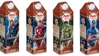 Los Vengadores de Marvel en los briks del nuevo batido de Covap
