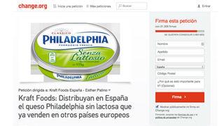Piden que Kraft lance Philadelphia sin lactosa en España