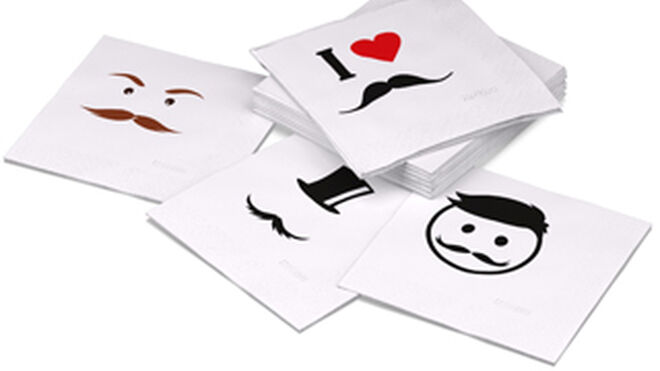 Originales servilletas Renova decoradas con bigotes