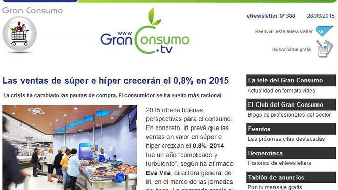 Los eNewsletters de GranConsumoTv volverán el próximo 6 de abril