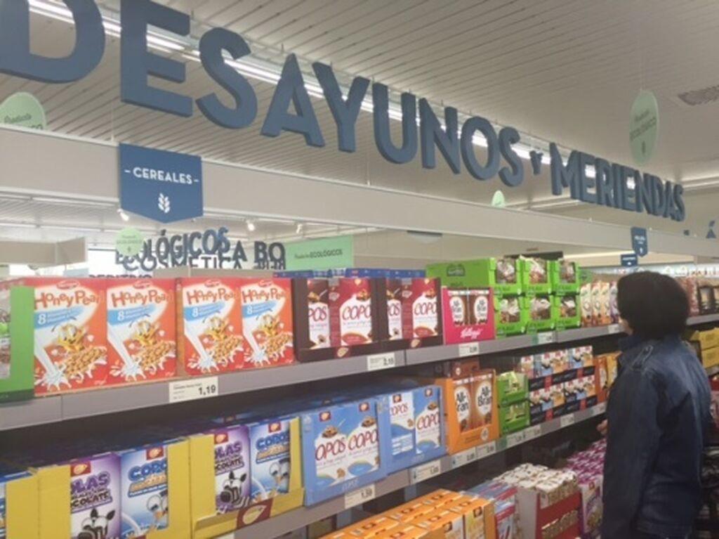 Zona de productos para el desayuno y la merienda