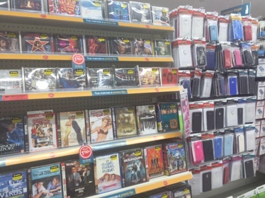 Dvds, carcasas para móviles, accesorios para móviles, etc.