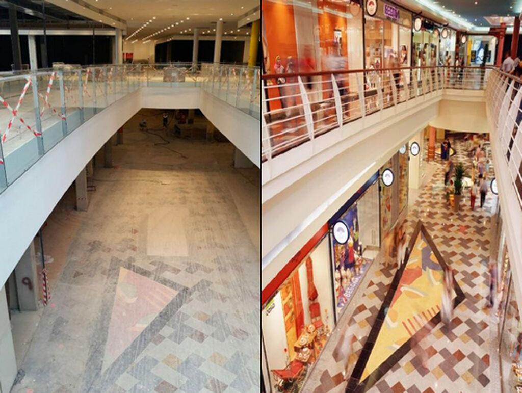 Dos imágenes totalmente opuestas del interior del centro comercial
