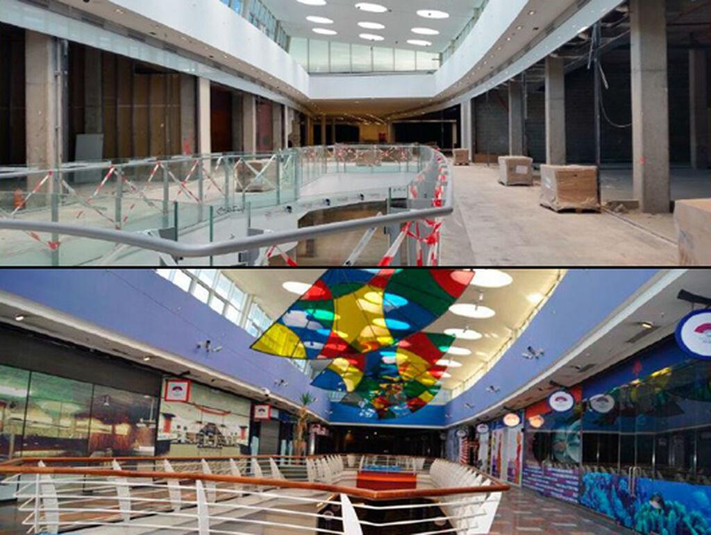 El interior del nuevo centro comercial, de los grises tras su cierre a una amplia gama de colores