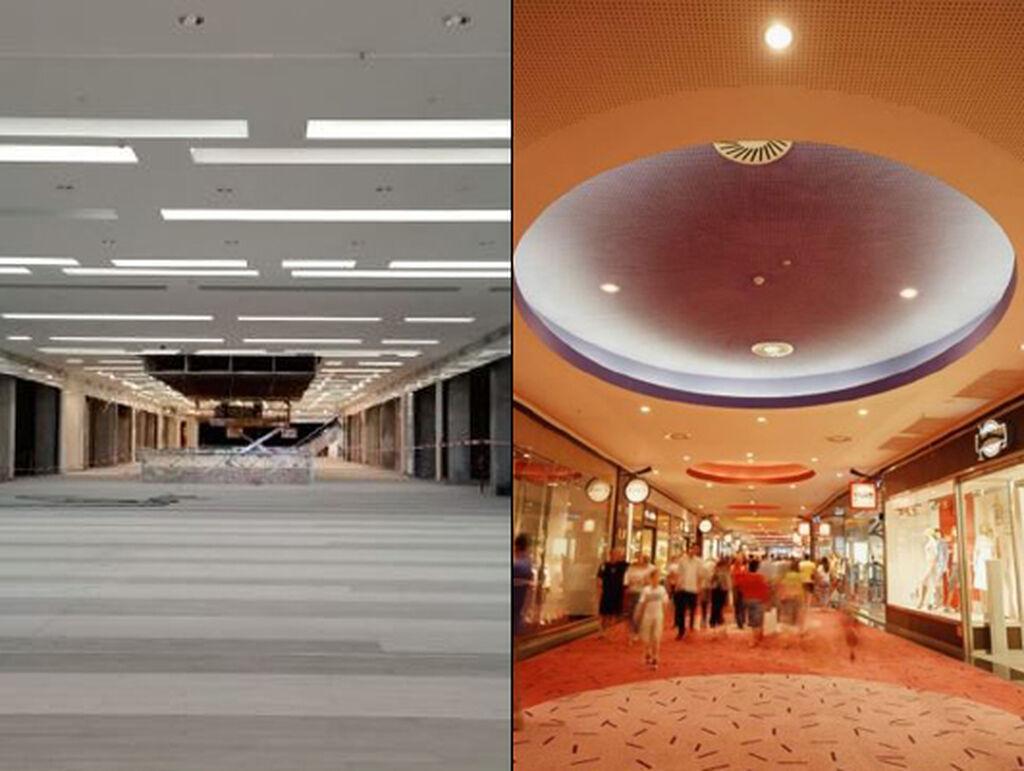 Uno de los pasillos del centro comercial y su total transformación