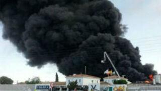 El fuego destruye la fábrica de Ybarra en Dos Hermanas (Sevilla)
