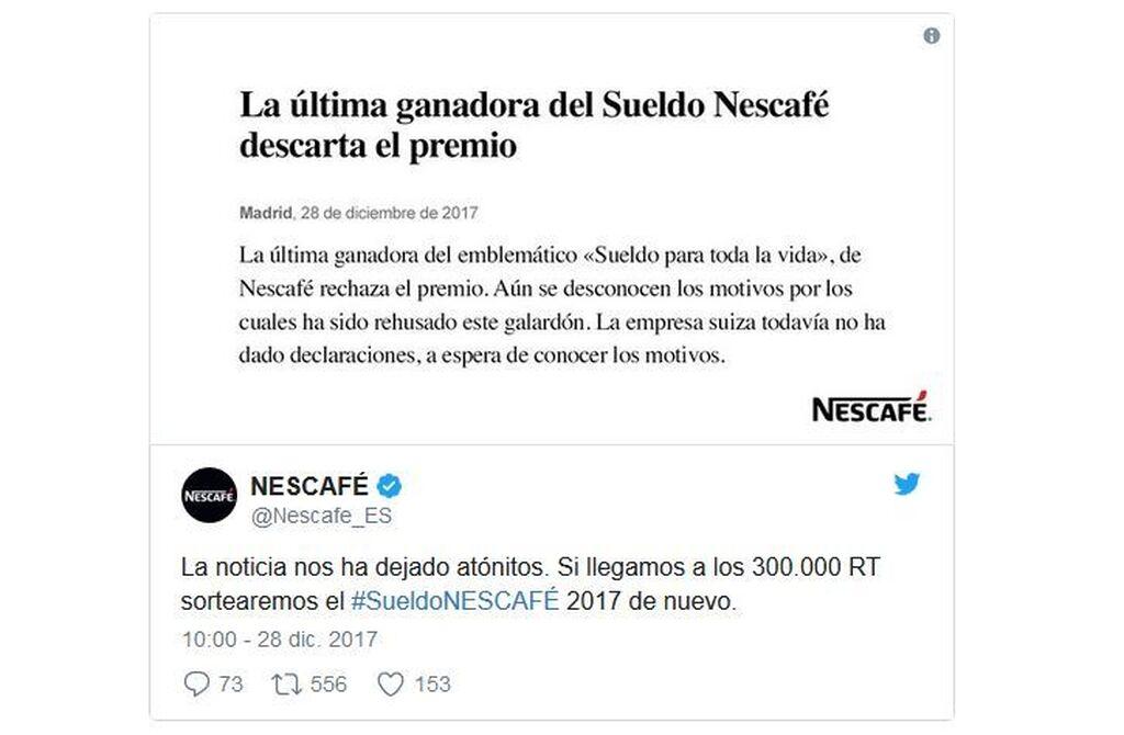 Noticia para abrir cualquier periódico: ¡¡alguien renuncia al sueldo de Nescafé!!