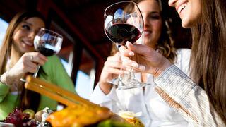 Jóvenes brindando con una copa de vino