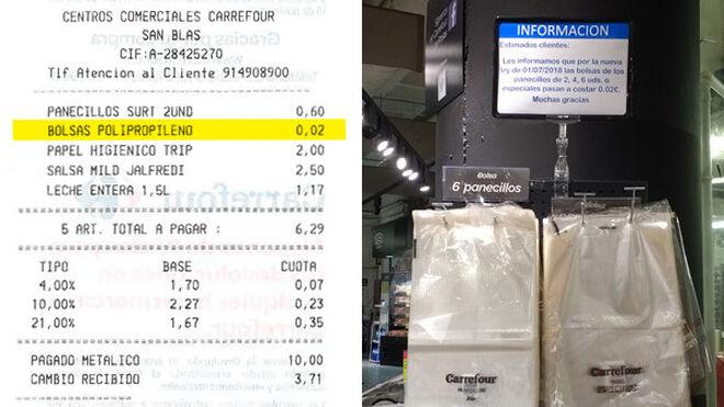La OCU denuncia a Carrefour por cobrar bolsas muy ligeras