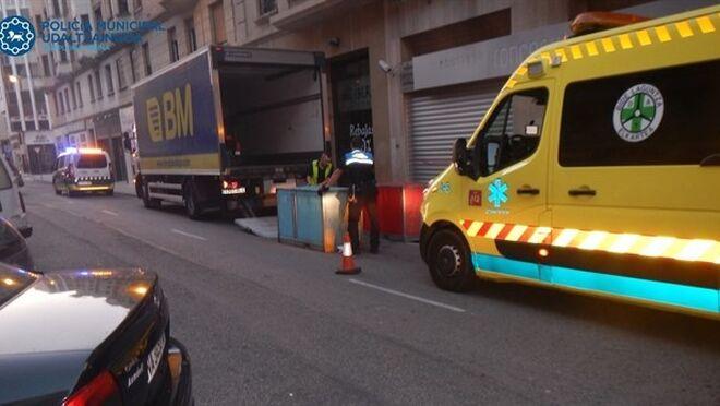 Herido un repartidor de un súper BM en Pamplona