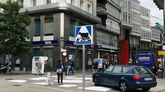A Coruña quiere poner de moda el  'paso de vaca'