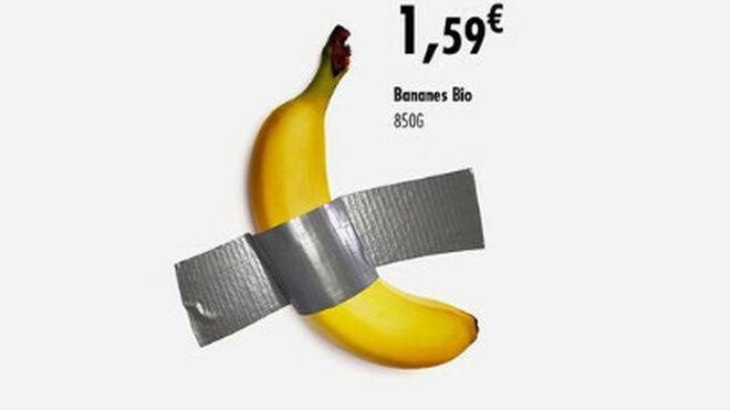 Carrefour saca provecho a la 'obra de arte' del plátano de 108.000 euros