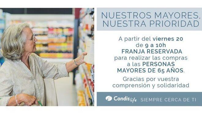Los supermercados reservan franjas de compra para mayores de 65 años