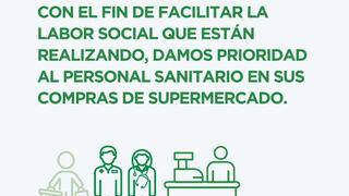 Los supermercados dan prioridad al personal sanitario