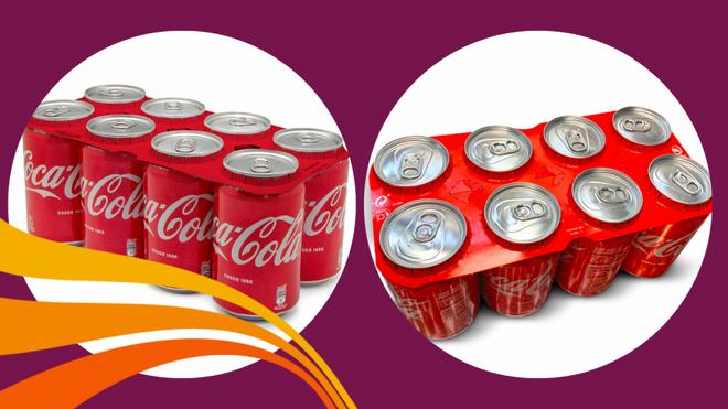 Coca-Cola avanza en reciclaje: produce ya anillos de cartón para sus packs de latas