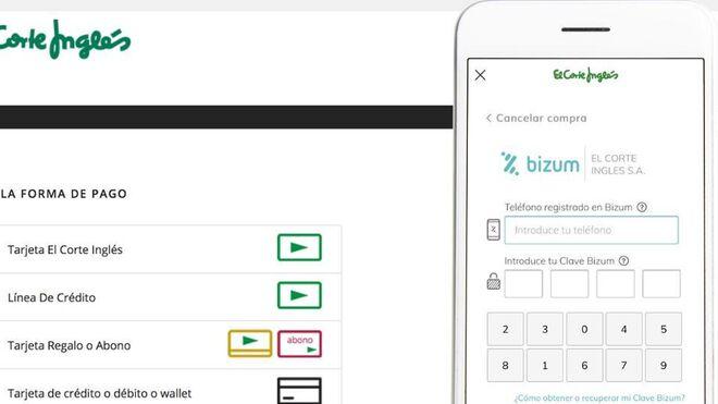 El Corte Inglés añade el pago con Bizum a su compra online