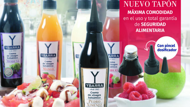 Ybarra presenta su crema de vinagre balsámico al Pedro Ximénez e innova con el tapón de sus cremas